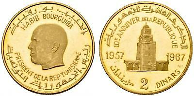 Tunisia , Gold 2 Dinars Republic 10Th Anniversary 1957 - 1967 ( Ra ) , Rare