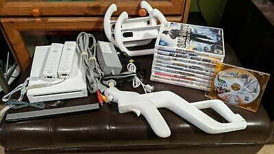 Nintendo Wii White Console (NTSC) bundle with games, controllers and accessories