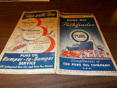 1936 Pure Indiana Vintage Road Map / Nice Gas Station Cover !!