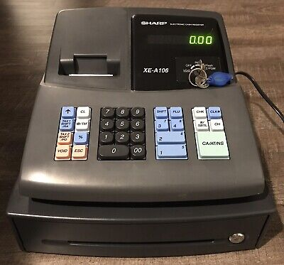 SHARP XE-A106 Cash Register / Drawer 2 Keys Tested & Works Perfectly Barely Used