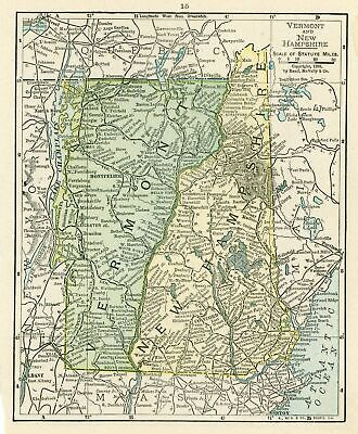 1899 Concise Atlas Vintage Map Pages - Vermont and New Hampshire map one side...