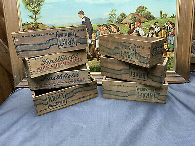 7 Vtg Wooden Wood Cheese Advertising Box Lot Boxes Kraft Smithfield Primitive