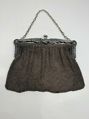 Heavy French Victorian Sterling Mesh Bag W/ Winged Griffin Frame 280 Grams