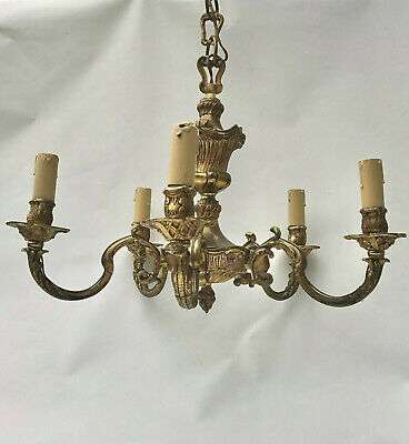 Vintage French Five Arm Ornate Brass Gold Colour Chandelier Ceiling Light