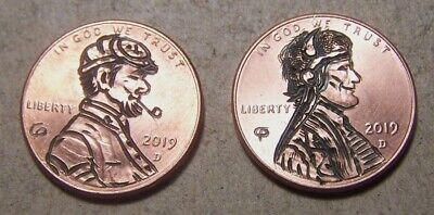 """HAND CARVED CLASSY HOBO COIN,OOAK,"""" a THREE-FER !, Uncle Ben, Trooper `n Chief."""""""