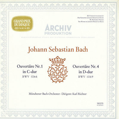 BACH Overtures 1 & 4 RICHTER Munich Bach Orchestra ARCHIV 198273 SILVER STEREO