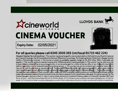 6 x  (SIX) Cineworld Cinema Tickets From Club Lloyds  Expiry 2/5/2021