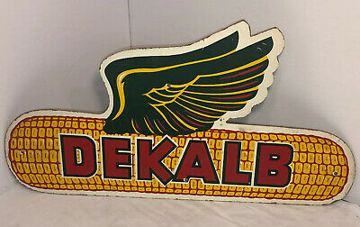 Vintage 1950's 60's Dekalb Winged Flying Ear Of Corn Seed Collectible Sign