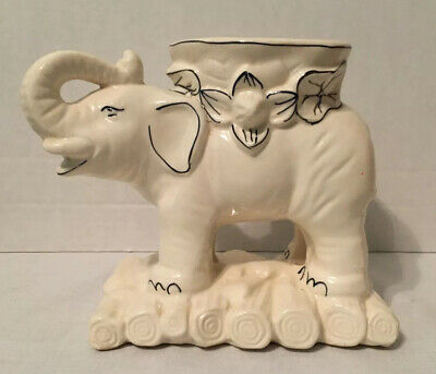 Vintage White Elephant Flower Planters Japan Set Of 2