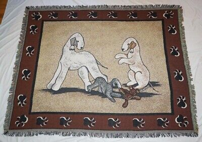 """BEDLINGTON TERRIER FABRIC CARE THORNTON COVERLET HOME DECOR """"(c) WITH CARE"""""""