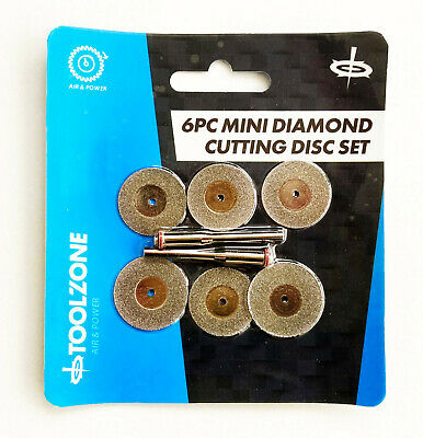 "6pc Mini Diamond Cutting Disc Set For Hobby & Dremel Drills with 1/8"" Shank"