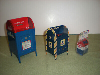 vintage (lot of 3) toy Mailbox coin banks /grt cond