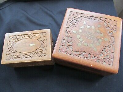 2 Vintage Indian Hand Carved Wooden Trinket Box With Brass Inlaid Design