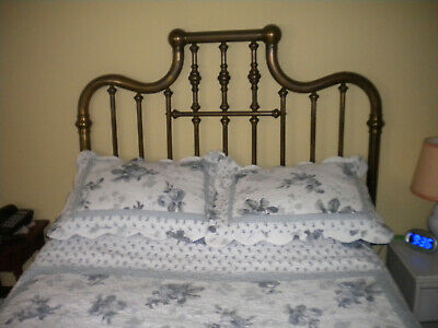 primitive antique double brass bed vg cond all rails etc included