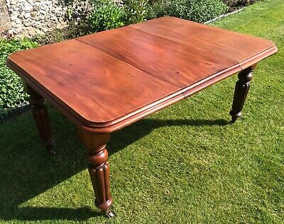 Antique Victorian Mahogany Dining Table With Leaf & Winder Seats 6