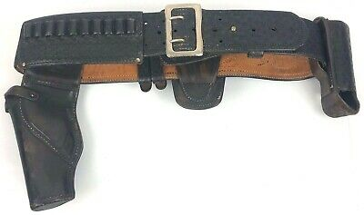 """Leather Police Duty Belt With Gun Holster Approximate 44"""" in Length"""