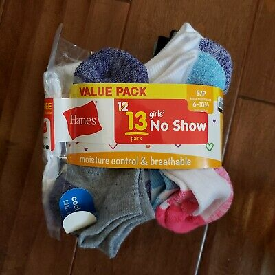 Hanes Value Pack12 Pair Girls No Show Socks Size Small Shoe Size 6-10.5 NEW