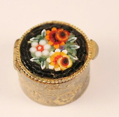 Vintage Micro Mosaic Inlaid Floral Embossed Millefiori Oval Pill Box