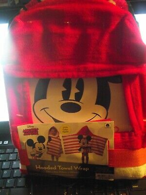 Mickey Mouse Swaddle Hooded Towel By Disney Brand New