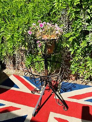Vintage decorative wrought Iron/Metal  two tier flower/plant Basket Stand