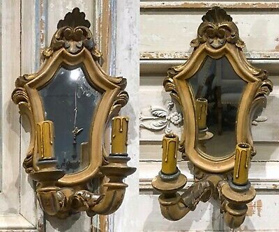 Rare Hand Painted Carved Wood Mirrored Italian Wall Bra Sconces