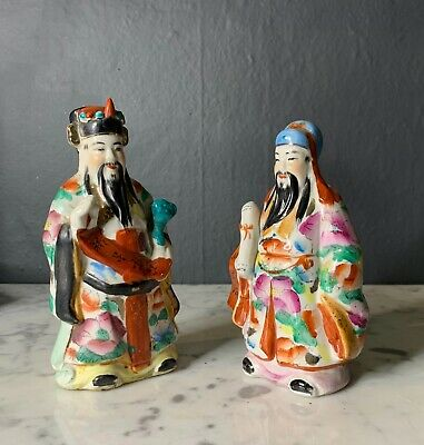 Mid Century Porcelain Chinese Miniature Figurines of Immortals