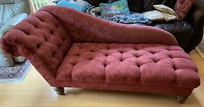 Antique Victorian Fainting Couch - Chaise Lounge Chair Vintage Red Furniture