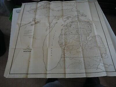 "Antique Map ""Sketch of the Public Surveys in Michigan"" 1852"