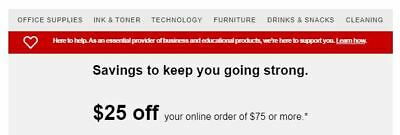 STAPLES Coupon $25 Off $75 Online Order - Exp 5/20/2020