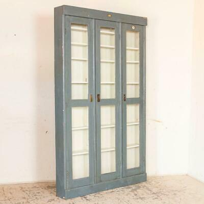 Antique Gray Painted Very Narrow 3 Door Cabinet Bookcase