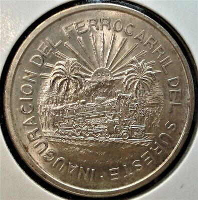 """1950 Silver 5 Pesos Coin from Mexico, Cat. KM# 466, in Large 2.5"""" by 2.5"""" Holder"""