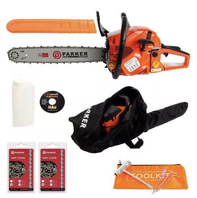 "58cc 20"" Petrol Chainsaw + 2 x Chains + More 99p Start No Res"