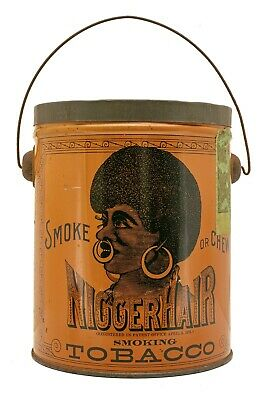 "Scarce 1920s ""N Hair"" litho bucket humidor tobacco tin in excellent condition"