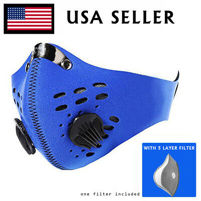 Neoprene Blue Face Mask Active Carbon Filter Exhale Valves Anti-droplet USA Ship
