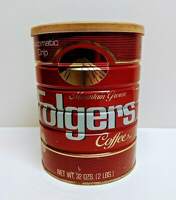 Vintage Folgers Metal Coffee Can With Lid 2 Lb Mountain Grown Drip Grind