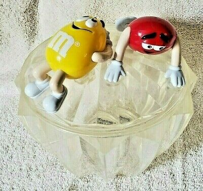 M&M's Clear Acrylic Plastic Candy Dish with Lid Big Red and Yellow M&M Character