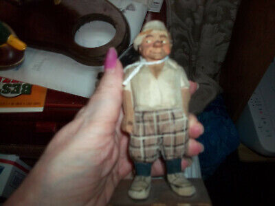 vintage hand carved old man figure apx. 6 inch