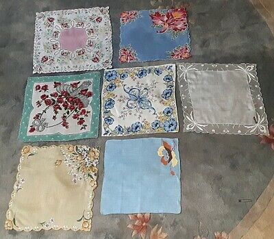 Lot 7 Vntge Cotton Floral Hankies Quilt Swiss Net Wedding Tulip Rose Applique
