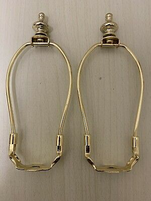 """Set/2-6"""" Steel Polish Brass Lamp Harp With Base And Finial"""