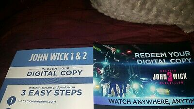 John Wick Chapters 1-3 4k Digital Codes. No dvds or blu ray discs. Trilogy