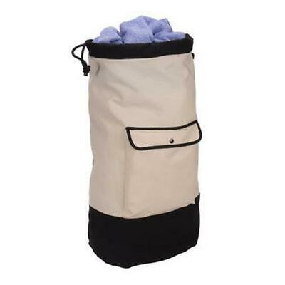 Household Essential Backpack Duffel Laundry Bag Cream and black