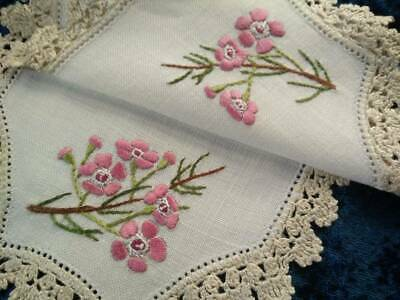 Australian Pink Geraldton Wax Vintage Hand Embroidered Larger Sandwich Doily