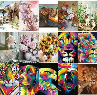DIY Oil Digital Painting by Numbers Kits Animals Paint On Canvas Home Decor.