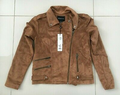 Womens Mink Pink Faux Suede Tan Jacket Size XS NWT RRP $139.95