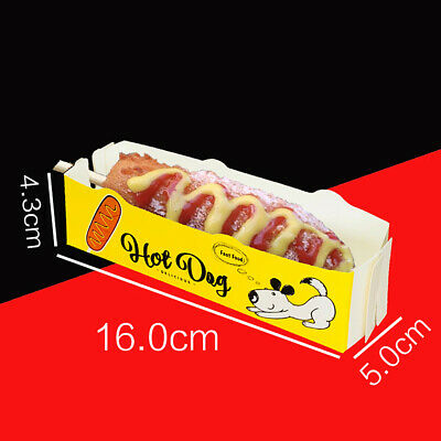20Pcs Disposable Cheese Hot Dog Bar Tray Restaurant Takeout Packaging Box Cases