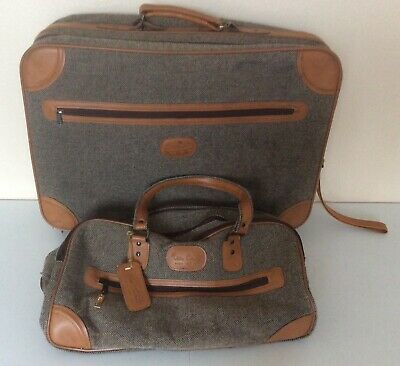 VTG Pierre Cardin Brown & Gray Tweed Suitcase And Carry On Overnight Bag
