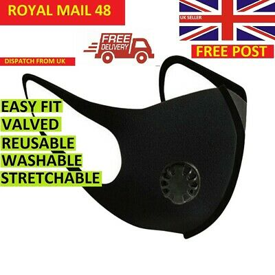 FACE MASK - UK  SELLER FILTER VALVE washable reuseable black Breathable Mask