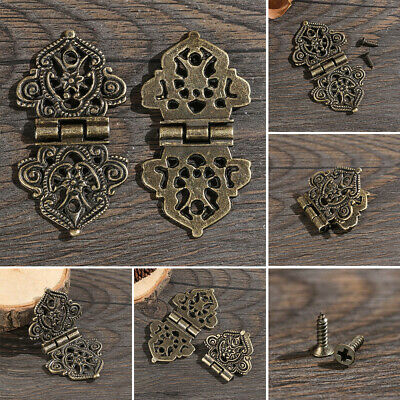 Wooden Box Antique Metal Hollow Cabinet Hardware Flower Hinge Door Butt Hinges