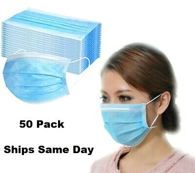 50-Pack 3-Ply Ear-Looped Protective Face Masks