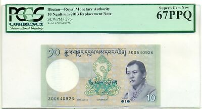 Bhutan 2013 10 Ngultrum Replacement Note Superb Gem New 67 PPQ PCGS Currency